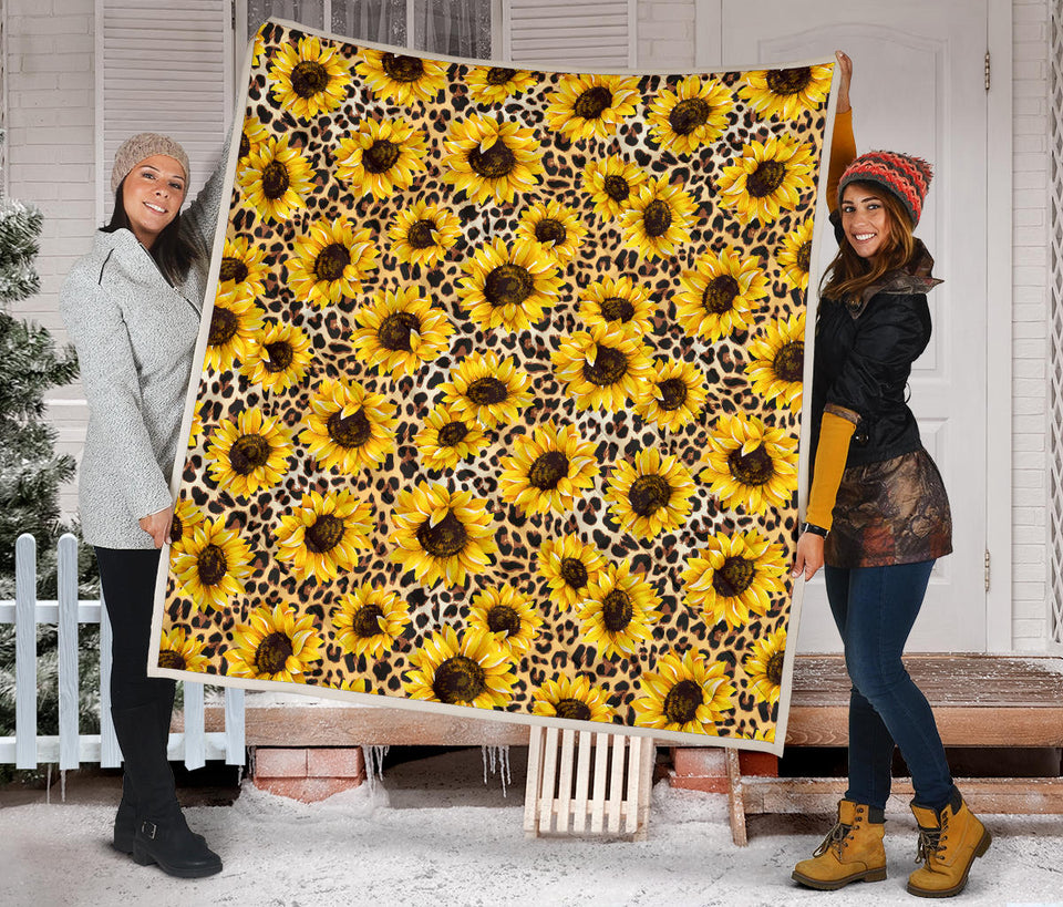 Sunflower Print Pattern Quilt
