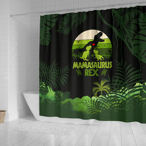 Mama Saurus Mother's Day Dinosaur Shower Curtain - Wonder Hippie Official