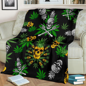 Pineapple Cannabis Skull Skeleton Premium Blanket - Wonder Hippie Official