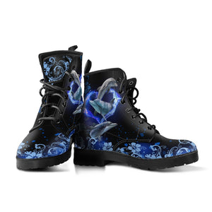 Amazing Dolphin Flower Leather Boot - Wonder Hippie Official