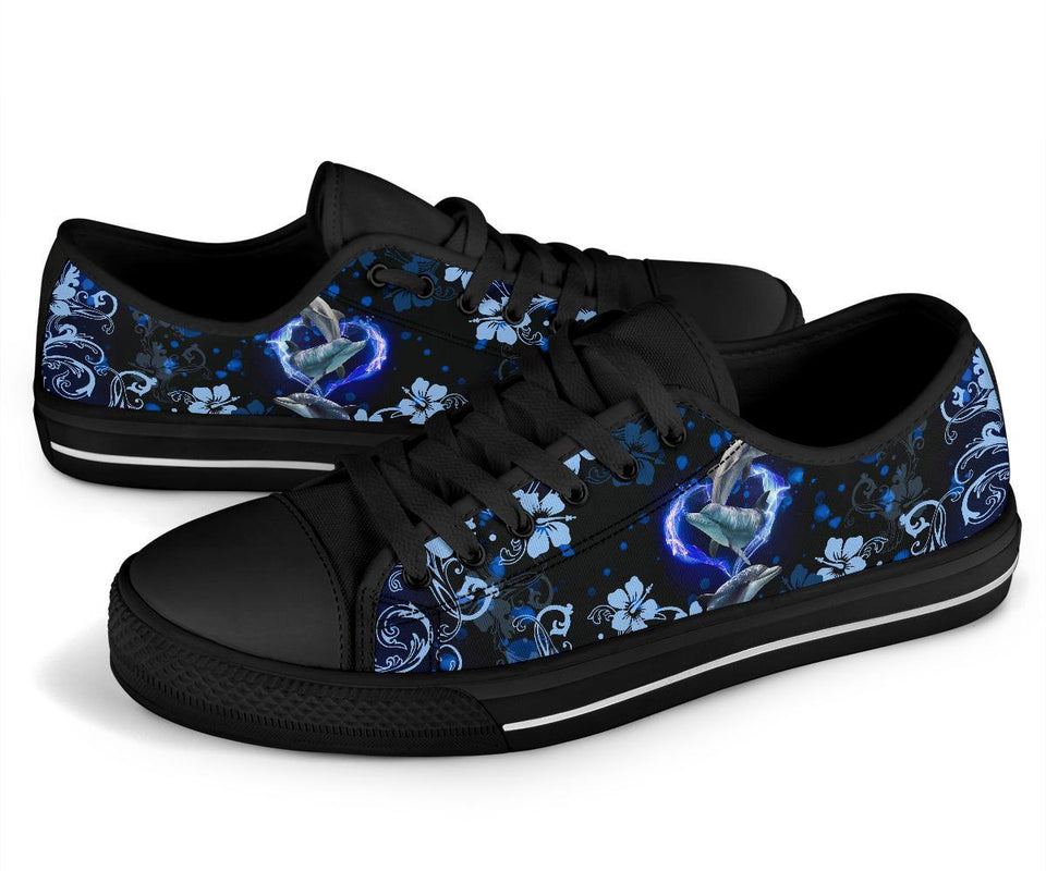 Amazing Dolphin Flower Low Top Shoe - Wonder Hippie Official