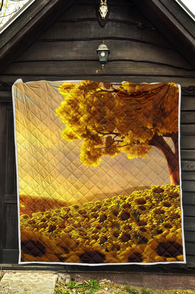 Sunflower Artwork Quilt Blanket - 4 - Wonder Hippie Official