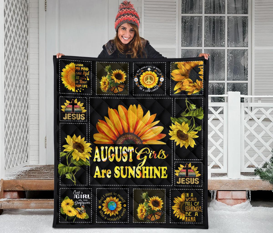Amazing Sunshine Sunflower August Girl Quilt for bedding - Wonder Hippie Official