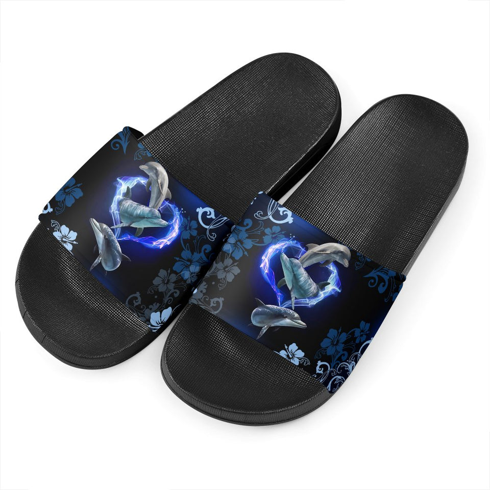 Amazing Dolphin Flower Slide Sandal - Wonder Hippie Official