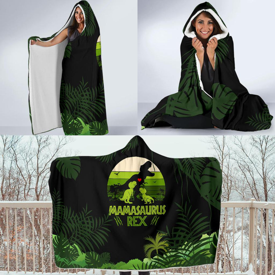 Mama Saurus Mother's Day Dinosaur Hooded Blanket - Wonder Hippie Official