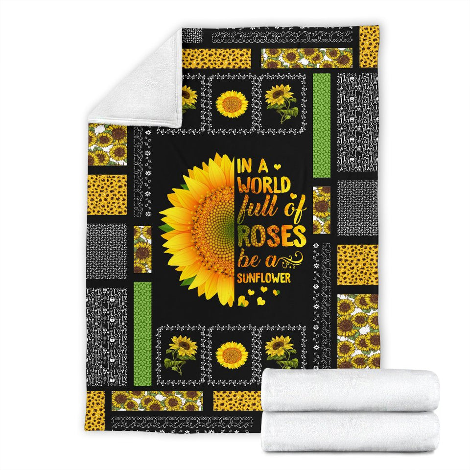 Be A Sunflower Premium Blanket - Wonder Hippie Official