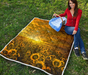 Sunflower Artwork Quilt Blanket - 2 - Wonder Hippie Official