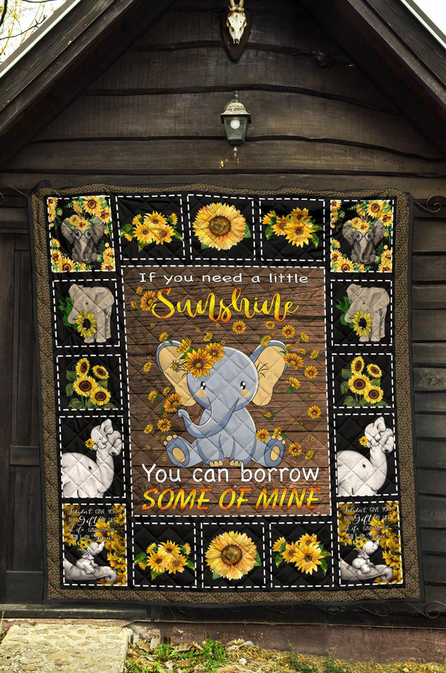 Sunshine sunflower elephant quilt for bedding - Wonder Hippie Official