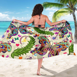 Butterfly Hippie Pattern Bikini Cover Travel Swim Sarong for women
