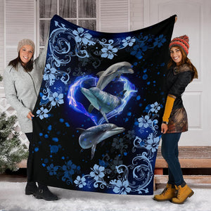Amazing Dolphin Flower Premium Blanket - Wonder Hippie Official