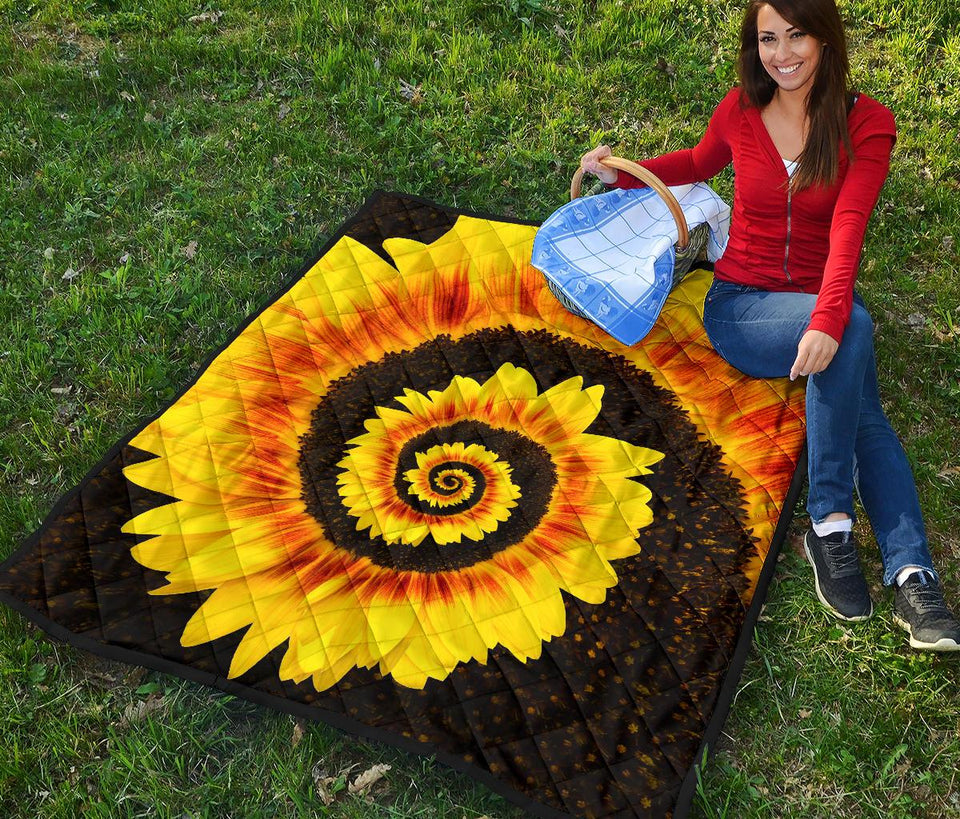 Twisted Tornado Sunflower Premium Quilt - Wonder Hippie Official