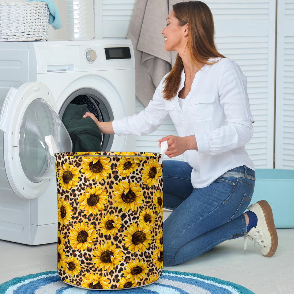 Sunflower Print Pattern Laundry Basket