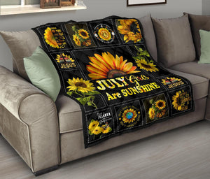 Amazing Sunshine Sunflower July Girl Quilt for bedding - Wonder Hippie Official