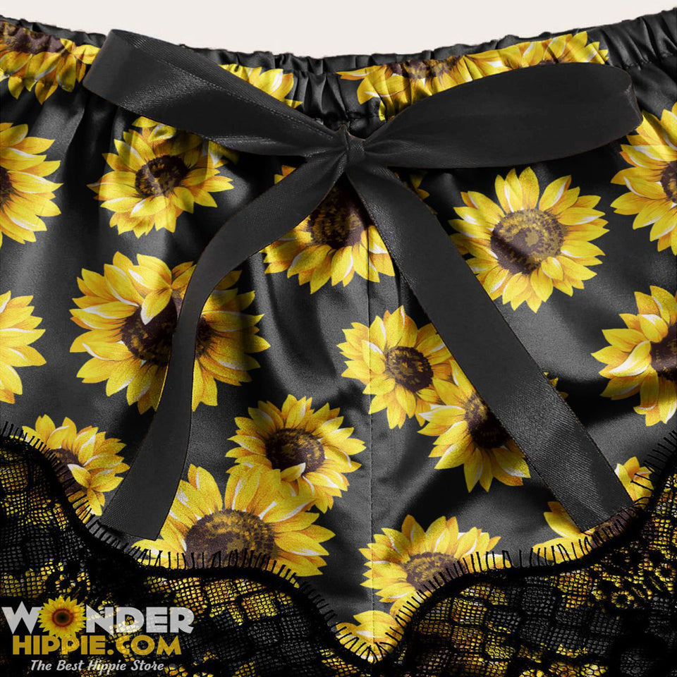 Sexy Sunflowers Lace Combo Crop Top & Short Body Suit Sleepwear