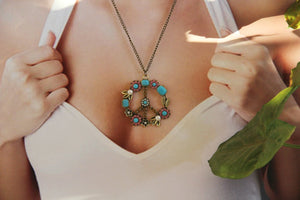 Vintage Hippie Boho Peace Pendant Long Necklace - Wonder Hippie Official