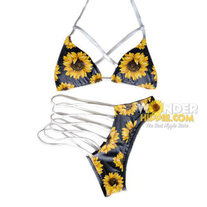 Combo Sunflower Strap Hollow Out Bikini - Wonder Hippie Official