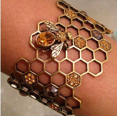Honeycomb Bee Cuff Bracelet - Wonder Hippie Official