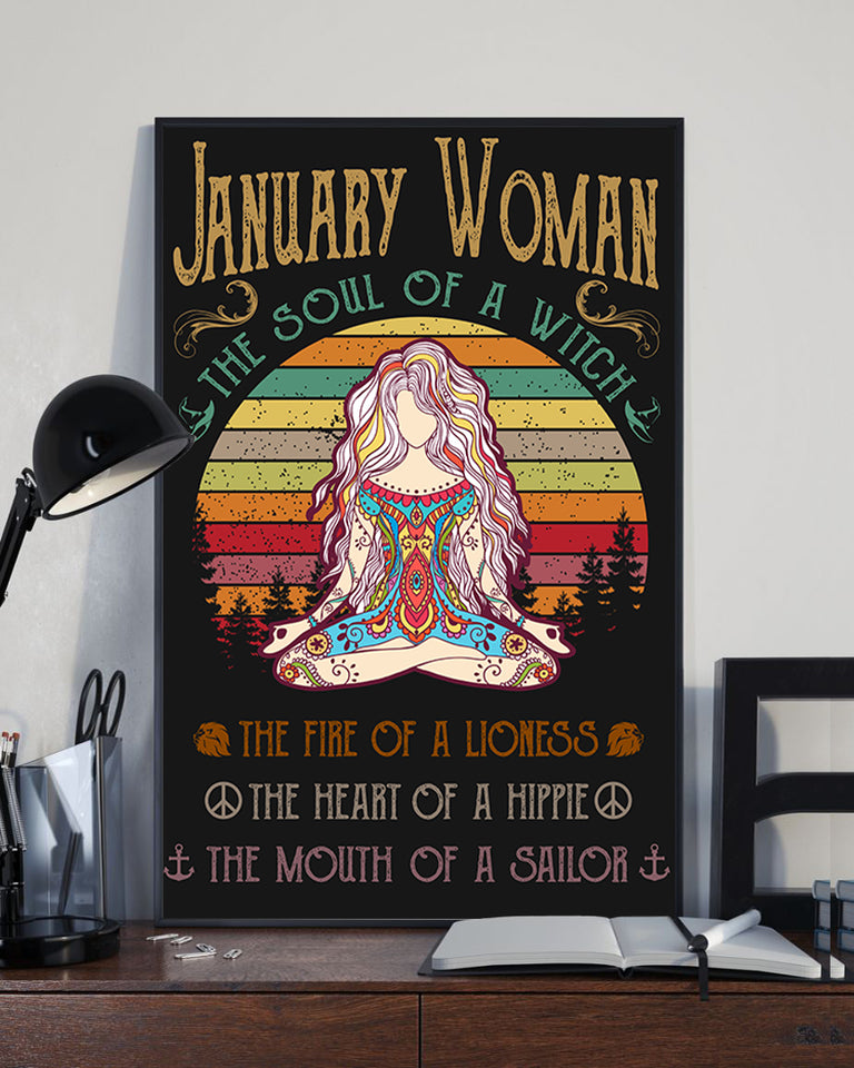 January Woman The Soul Of A Witch Hippie Poster 16x24""