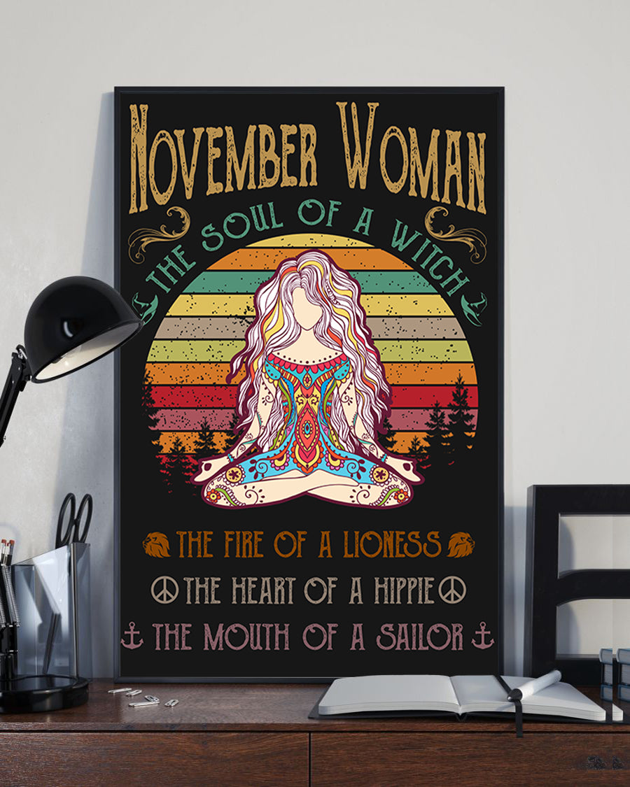 November Woman The Soul Of A Witch Hippie Poster 16x24""