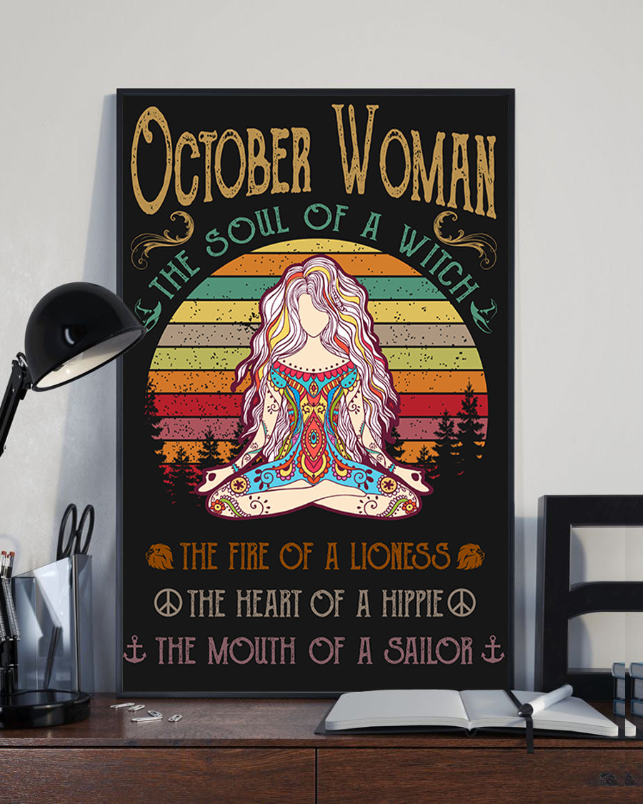 October Woman The Soul Of A Witch Hippie Poster 16x24""