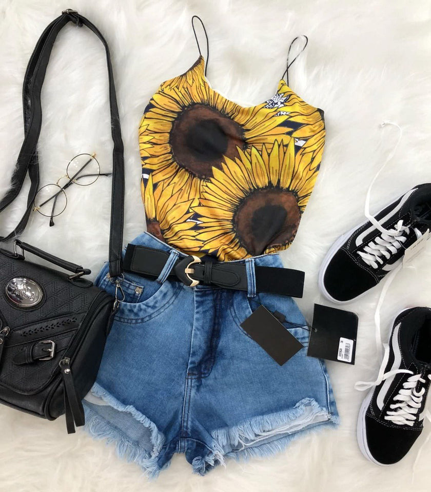 Sunflower One Piece Sexy 2 Wires Polyester Bodysuit