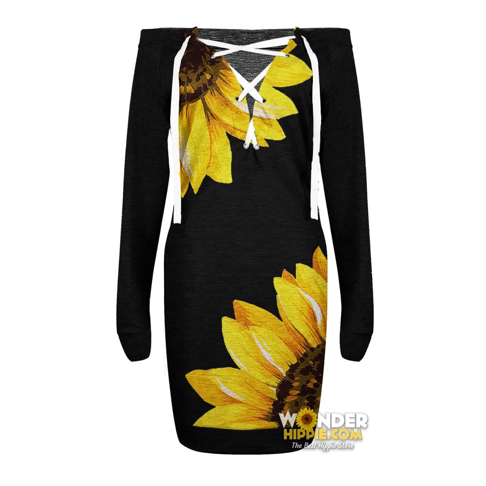 Sunflower New Sexy Lace Up Deep V-Neck Off Shoulder Long Sleeve Dress