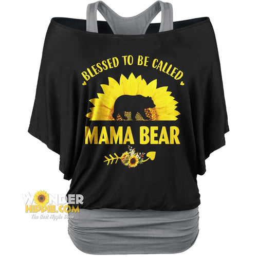 2 in 1 Mama Bear Sunflower Women Loose Dolman Sleeve Shirt