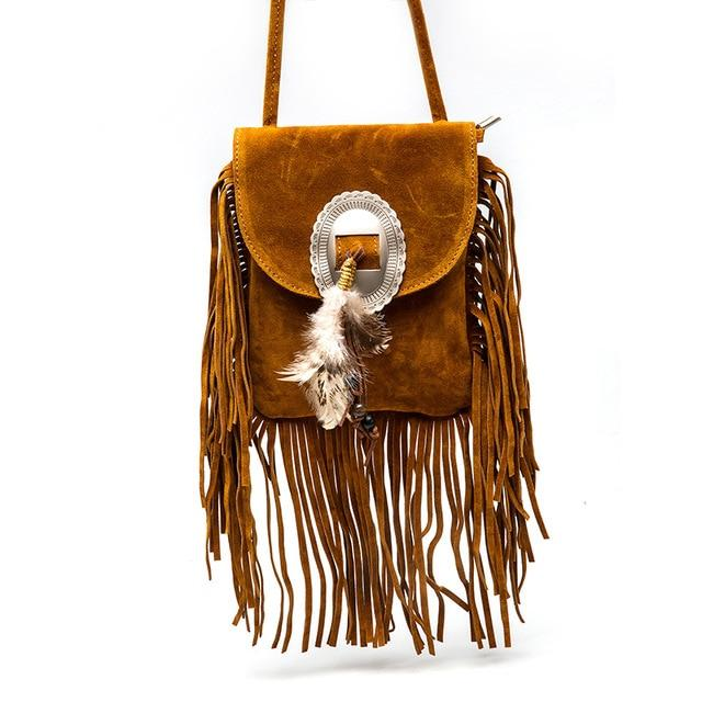 Vintage Bohemian Fringe Messenger Crossbody Bag Purse - Wonder Hippie Official
