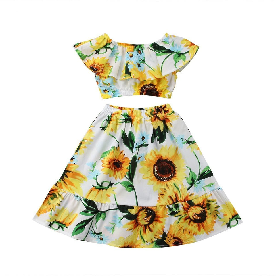 Toddler Infant Sunflower 2Pcs Kid Baby Girl Off Shoulder Crop Tops Skirt Outfits Children Summer Clothing Clothes For Daughter - Wonder Hippie Official