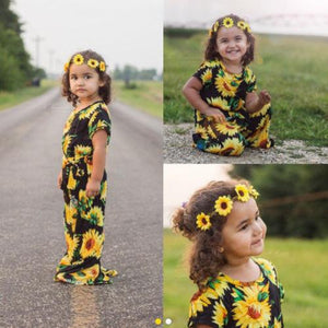 Toddler Kids Baby Girls Sunflower Printed Cotton Blend Romper Jumpsuit For Daughter - Wonder Hippie Official