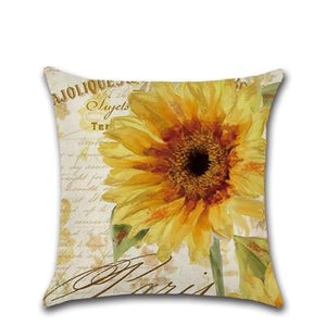 Sunflower Oil Painting Linen/Cotton Sofa Bed Cushion Covers Throw Pillow Cases - Wonder Hippie Official