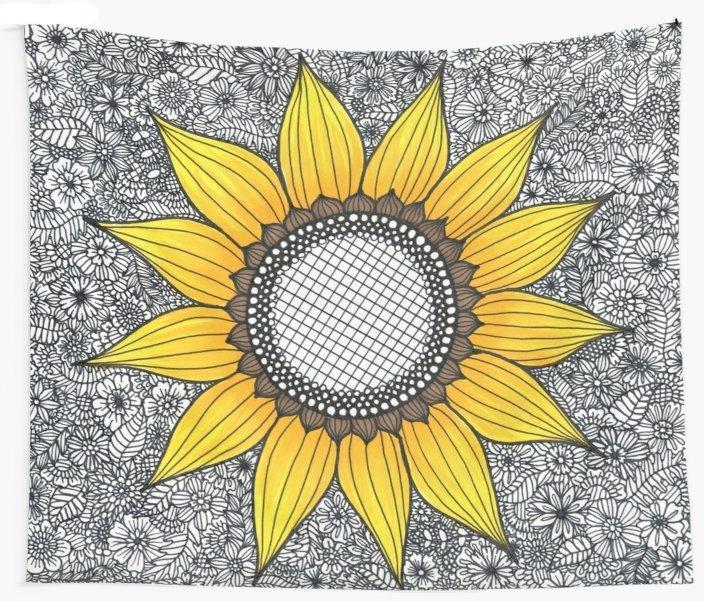 Sunflower Pattern Wall Tapestry Blanket Picnic Yoga Mat Home Decoration - Wonder Hippie Official