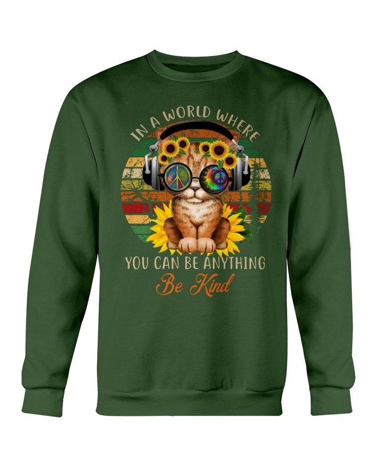 Cute Cat be kind hippie peace sign T-shirt & Hoodie
