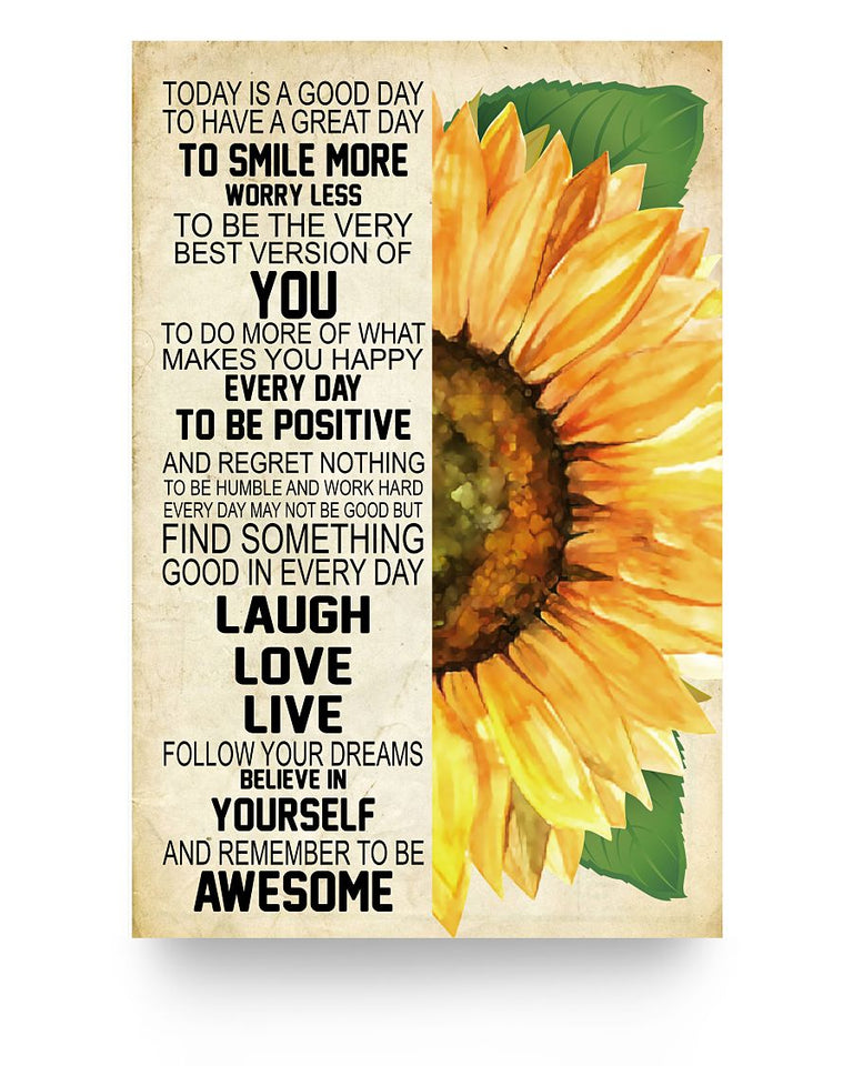 Laugh Love Live Sunflower Poster 16x24""