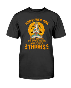 Sunflower Girl Tattoo Thick Thights Tshirt and Hoodie