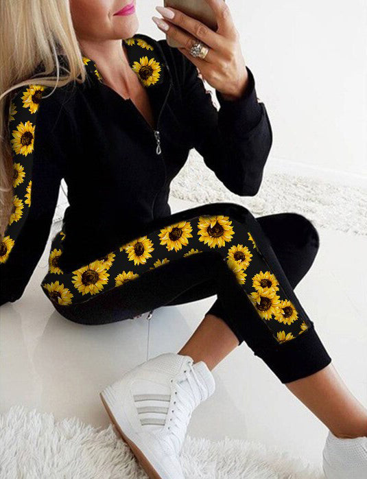 Sporty Sunflower Hoodie & Pants