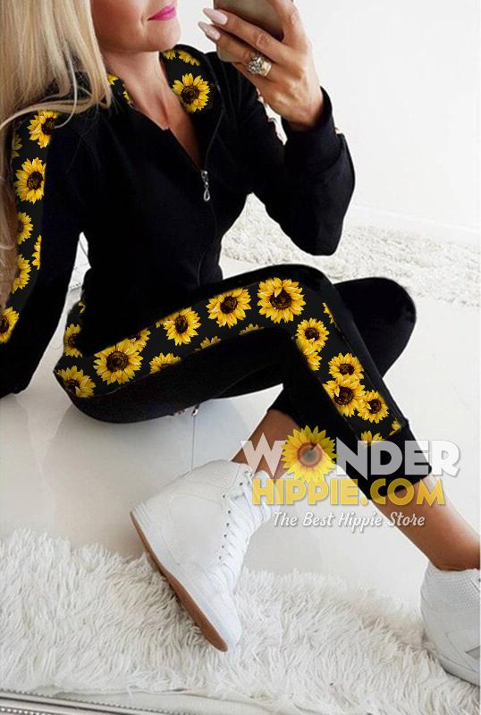 Sporty Sunflower Hoodie & Pants - Wonder Hippie Official