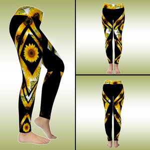 Cute Sunflowers Hippie Boho Yoga Sporty Leggings Pant For Women
