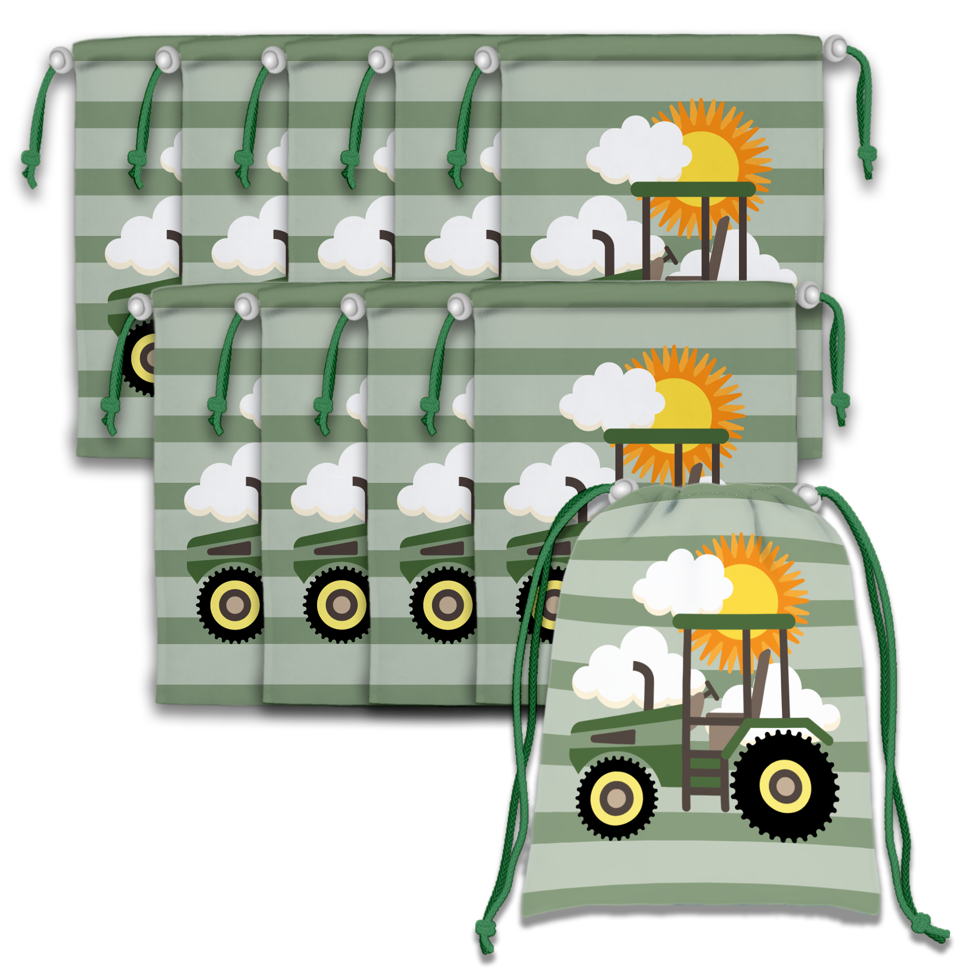 Tractor Time Drawstring Tote Bag (10 Pack) - BirthdayGalore.com