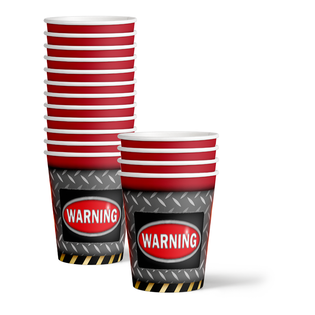 Warning Sign 50th Birthday Party Tableware Kit For 16 Guests - BirthdayGalore.com