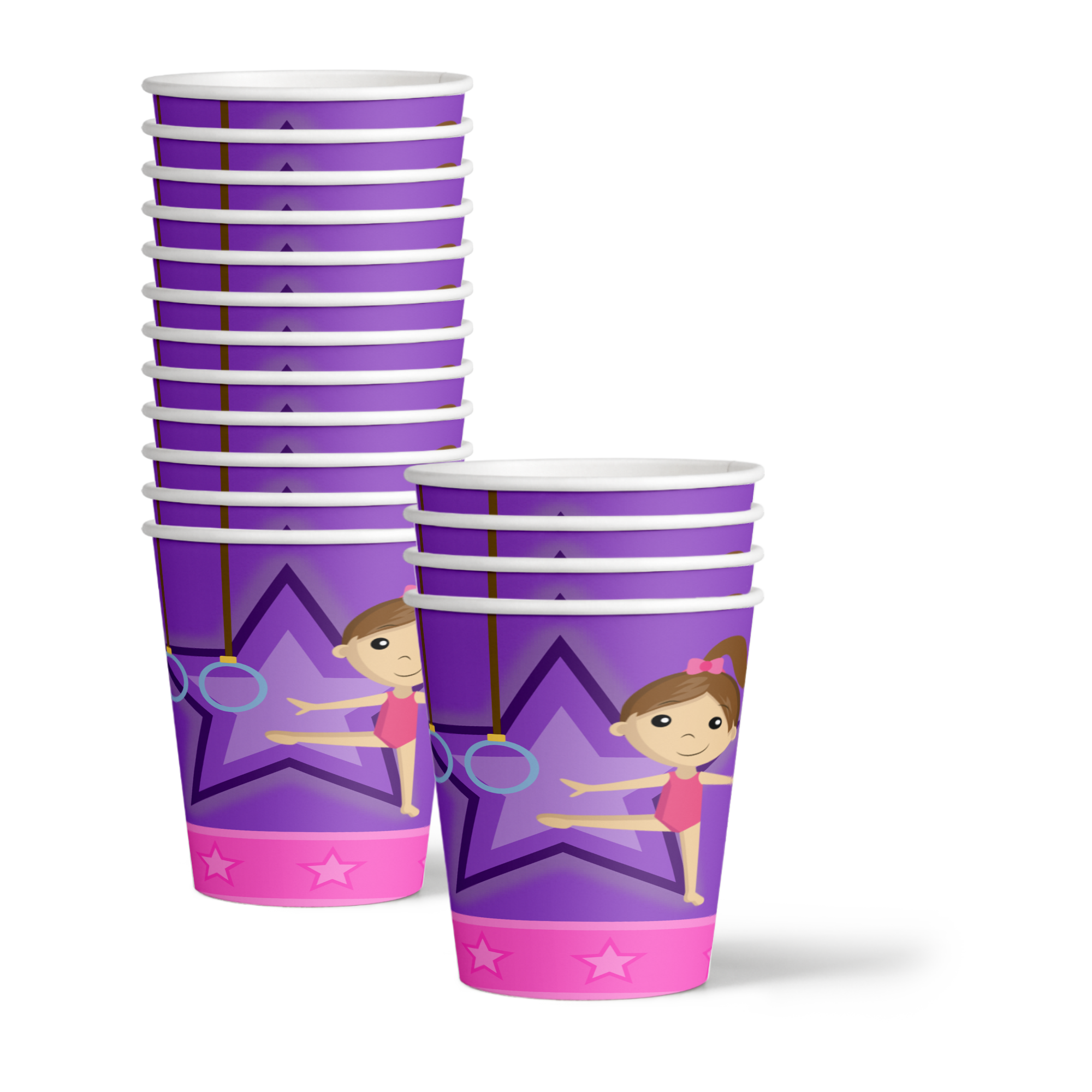 Gymnastics Star Birthday Party Tableware Kit For 16 Guests