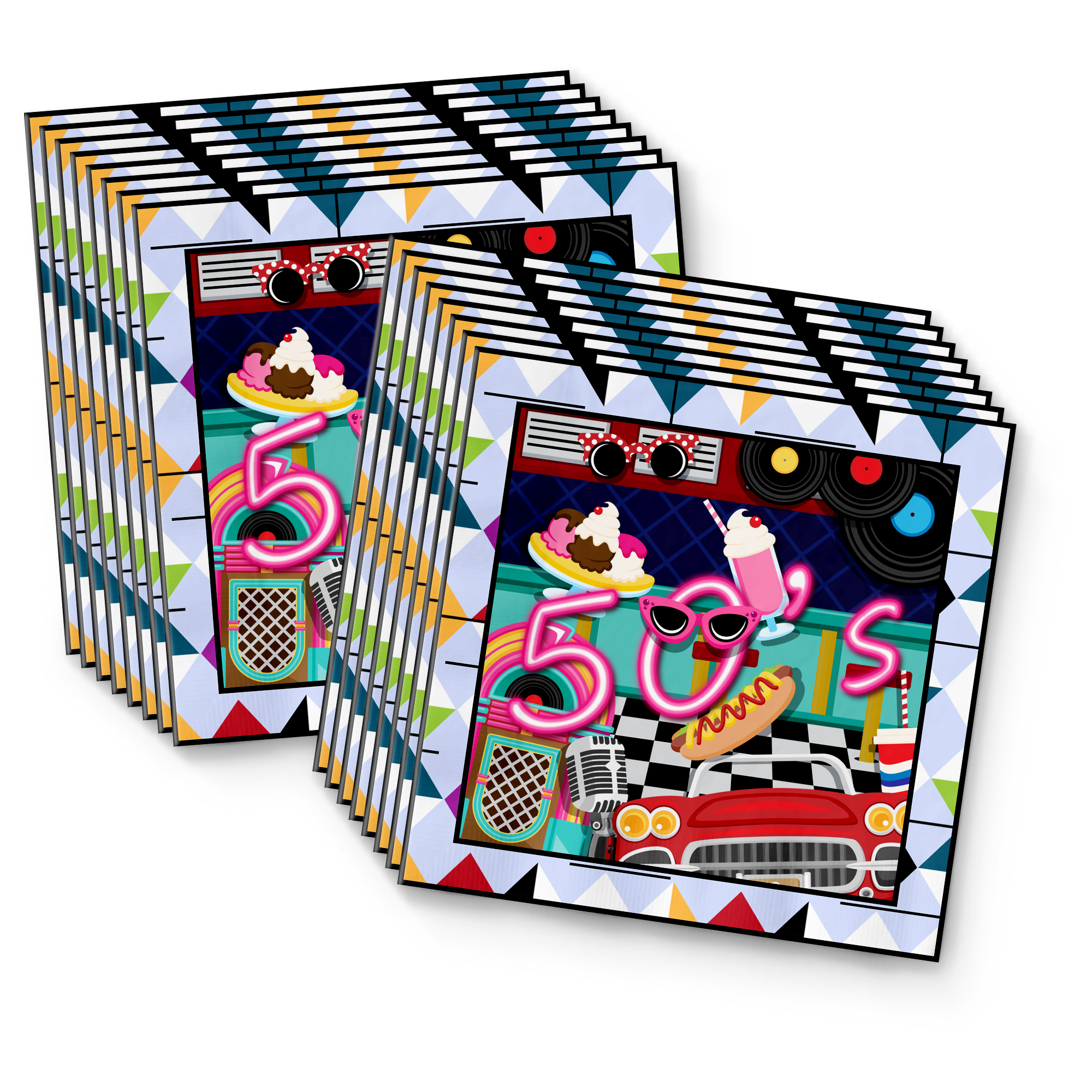 50's Party Tableware Kit For 16 Guests - BirthdayGalore.com