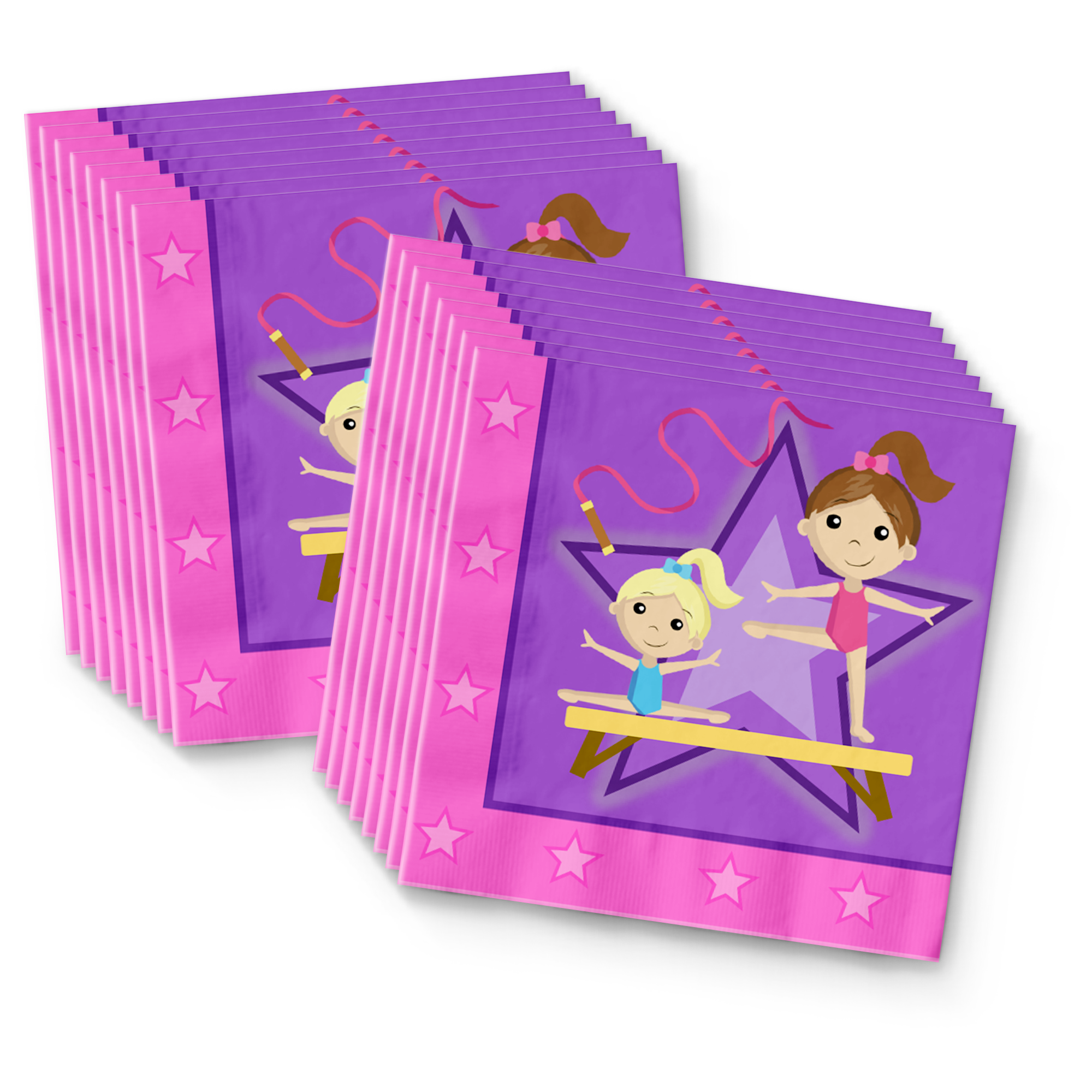Gymnastics Star Birthday Party Tableware Kit For 16 Guests - BirthdayGalore.com