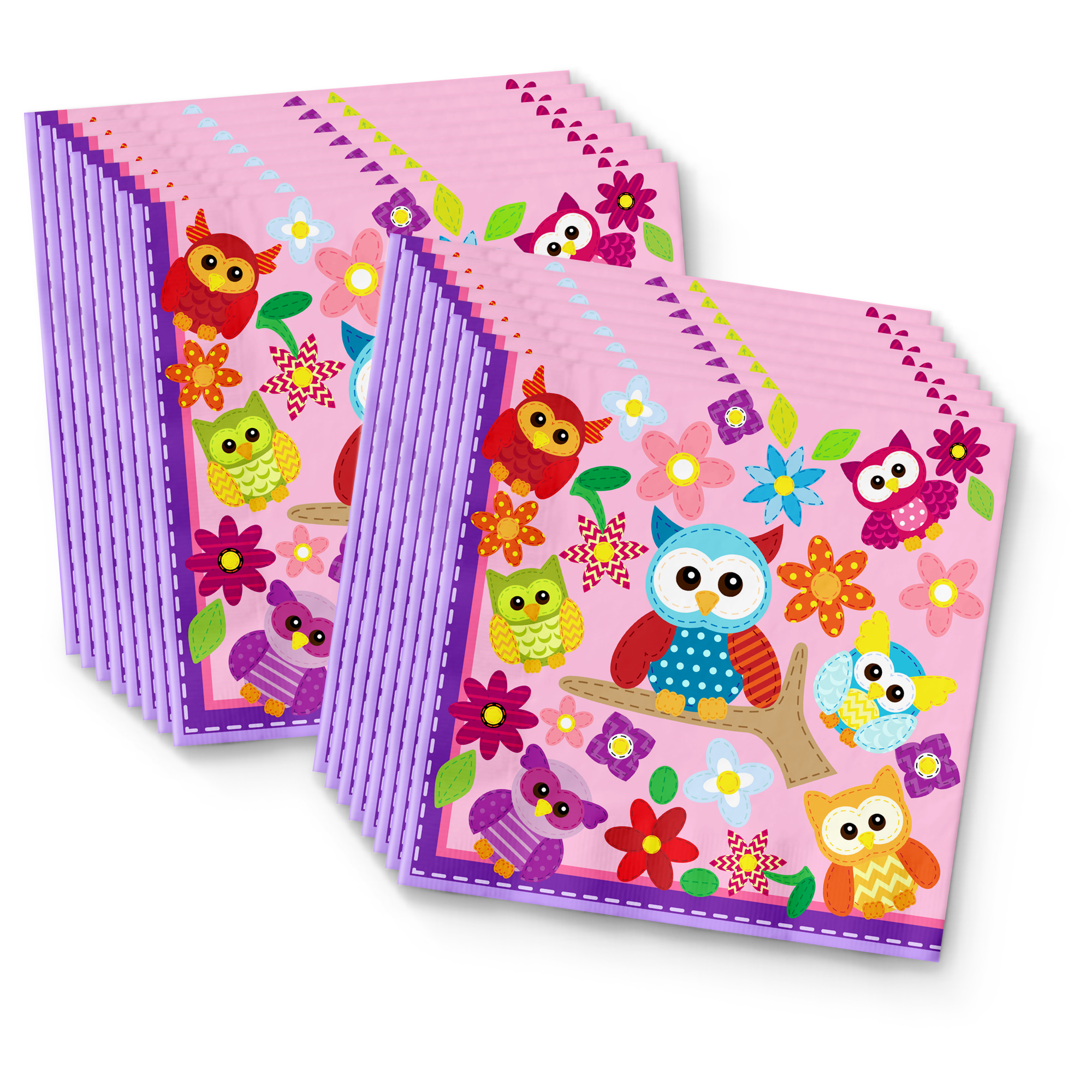 Patchwork Owl Birthday Party Tableware Kit For 16 Guests