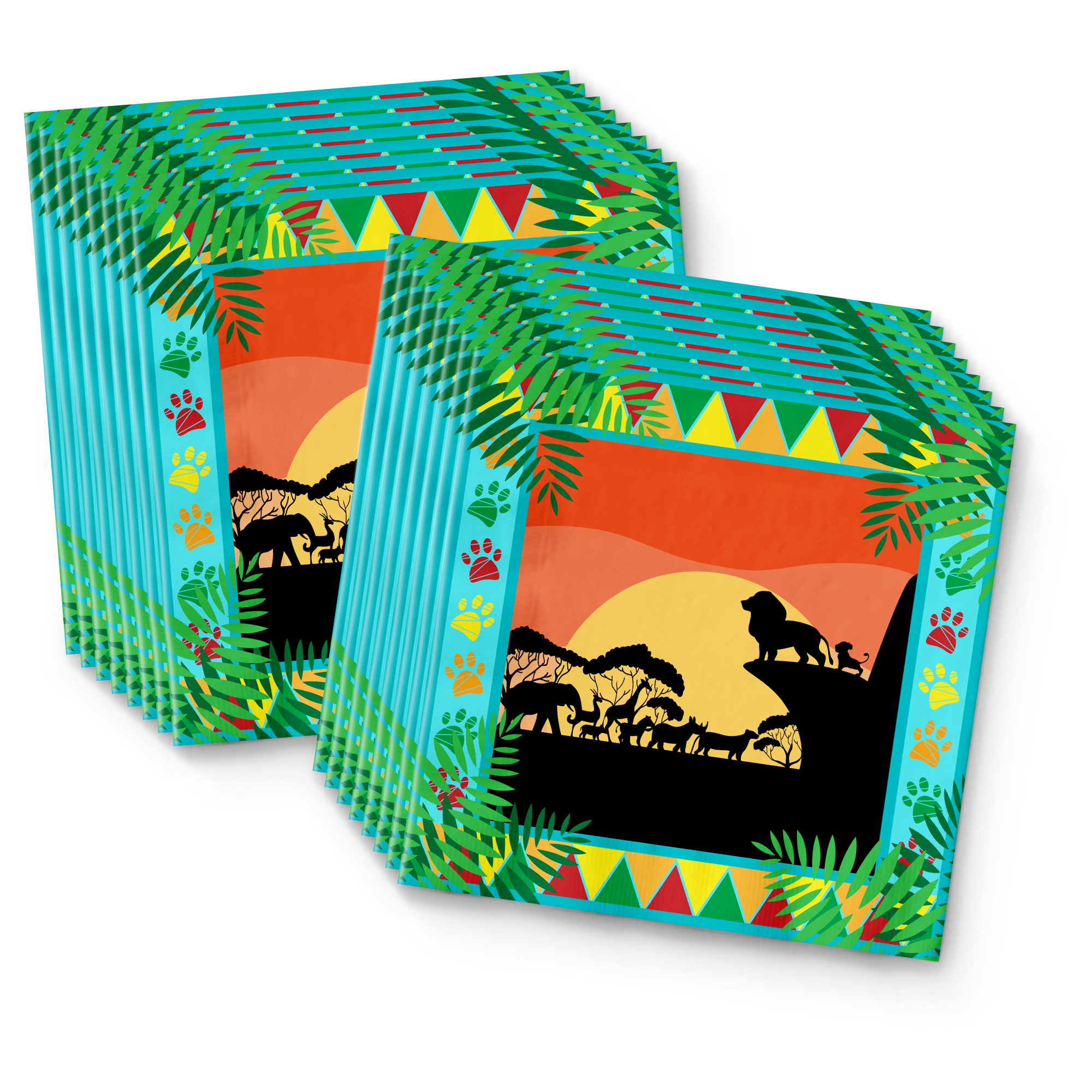 Sunset Safari Animals Birthday Party Tableware Kit For 16 Guests - BirthdayGalore.com