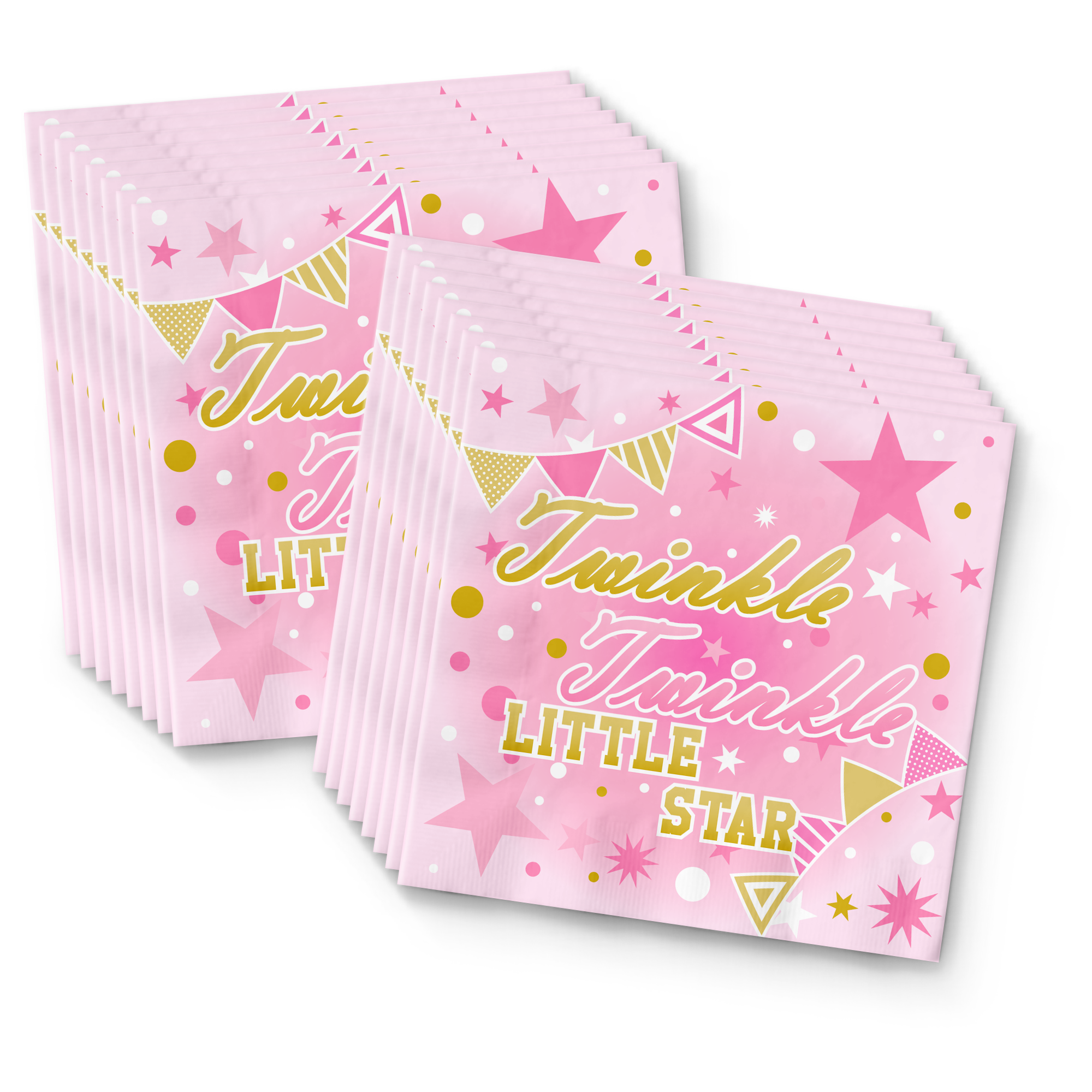 Pink Girl Twinkle Little Star Birthday Party Tableware Kit For 16 Guests
