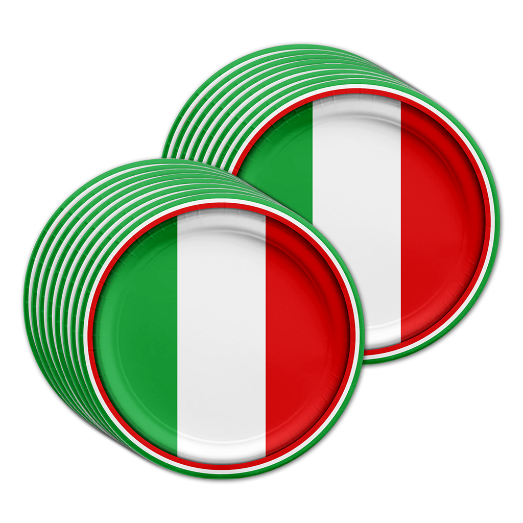 Italian Flag Birthday Party Tableware Kit For 16 Guests - BirthdayGalore.com