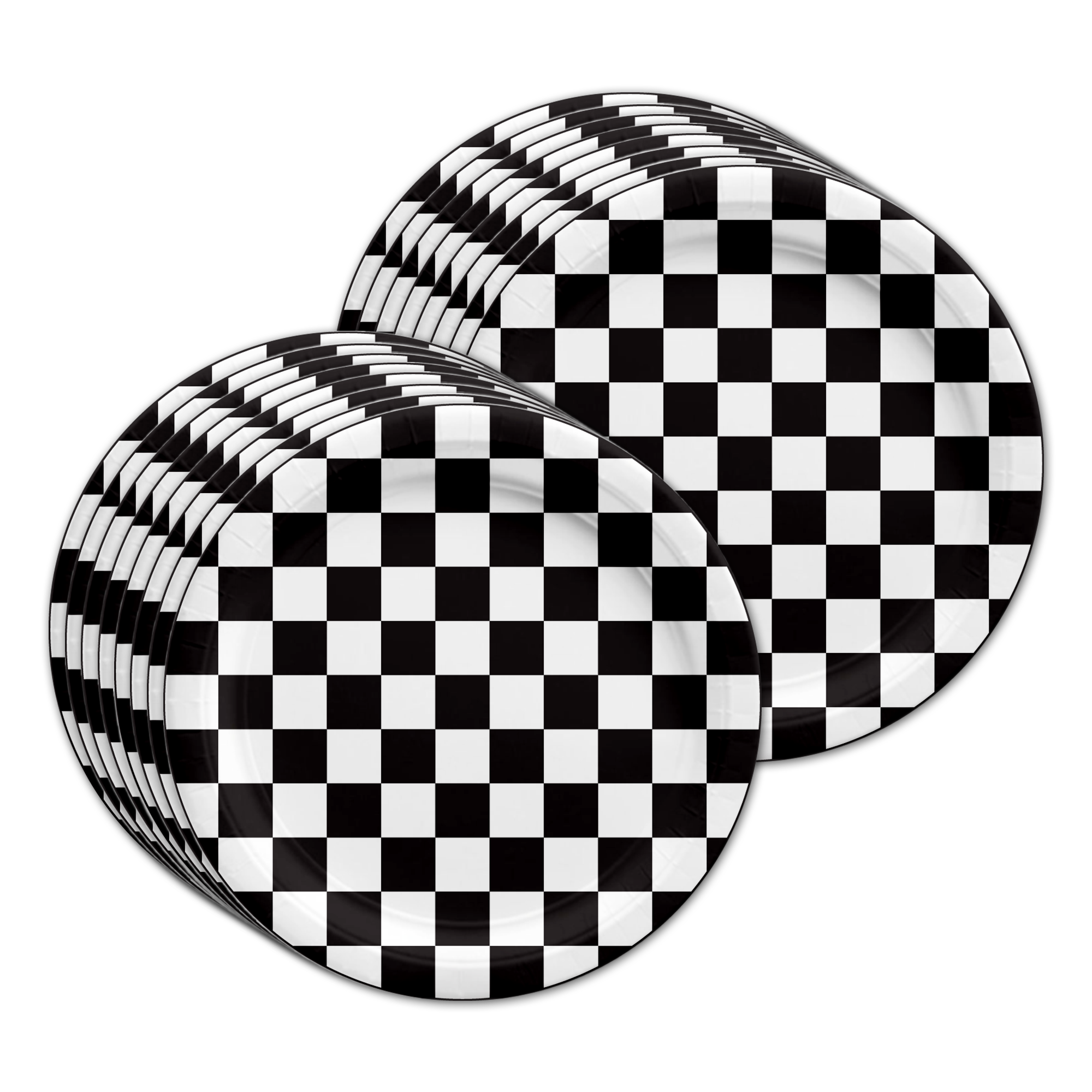 Checkered Flag Birthday Party Tableware Kit For 16 Guests - BirthdayGalore.com