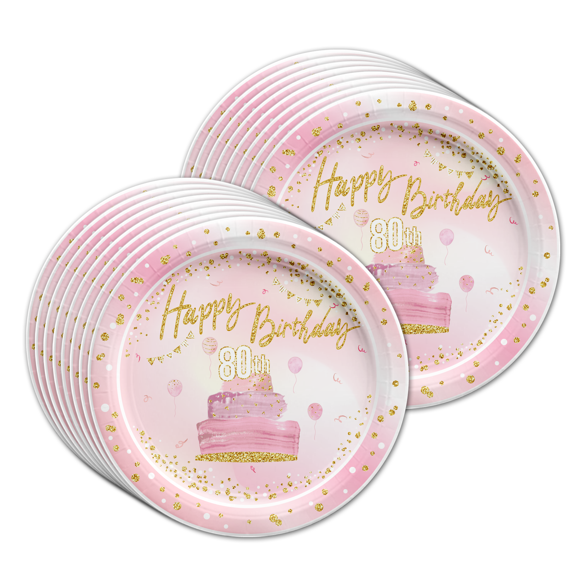 80th Birthday Pink & Gold Party Tableware Kit For 16 Guests - BirthdayGalore.com