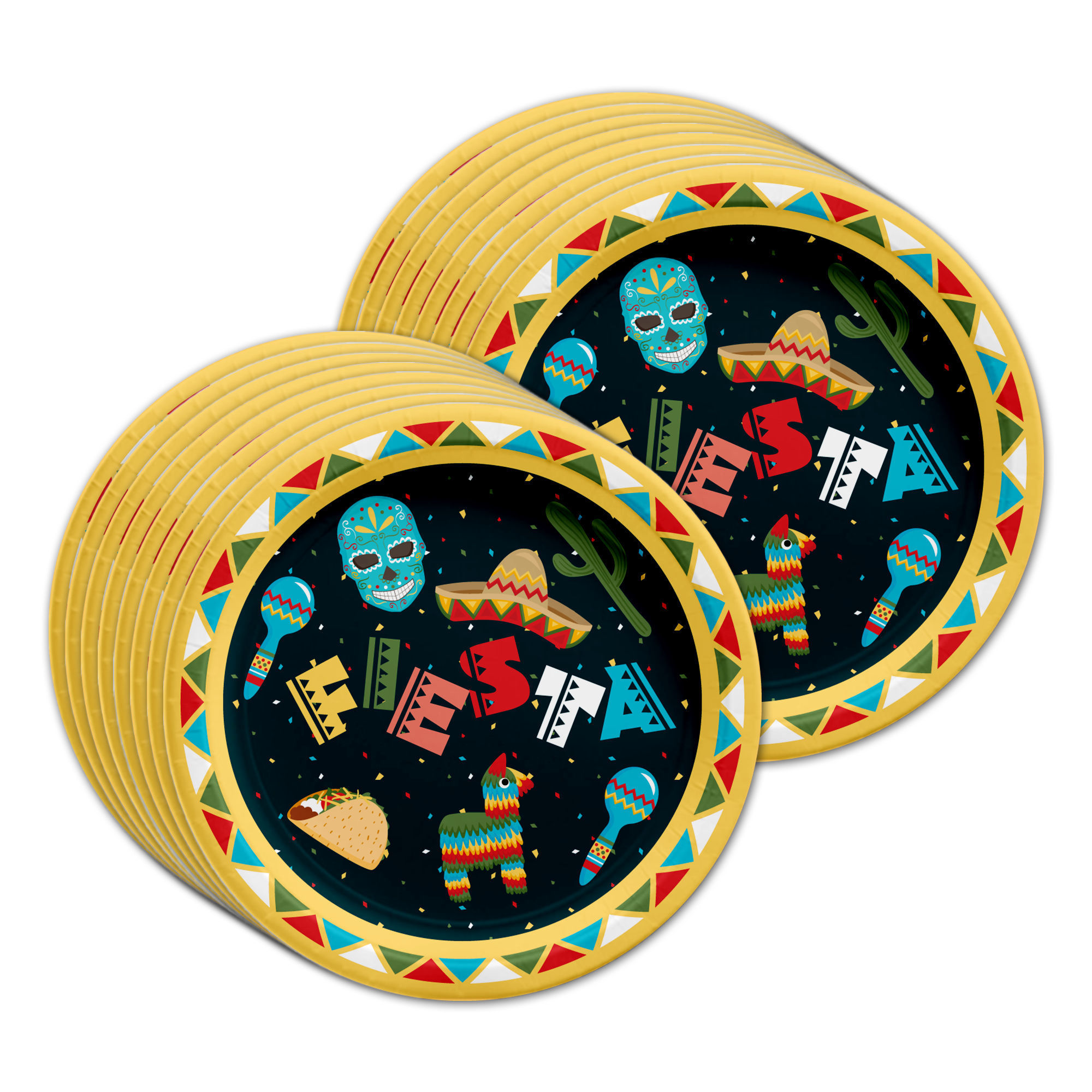 Mexican Fiesta Birthday Party Tableware Kit For 16 Guests - BirthdayGalore.com